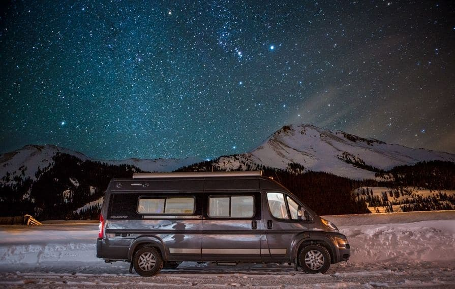 Class B Camping in the snow under the stars