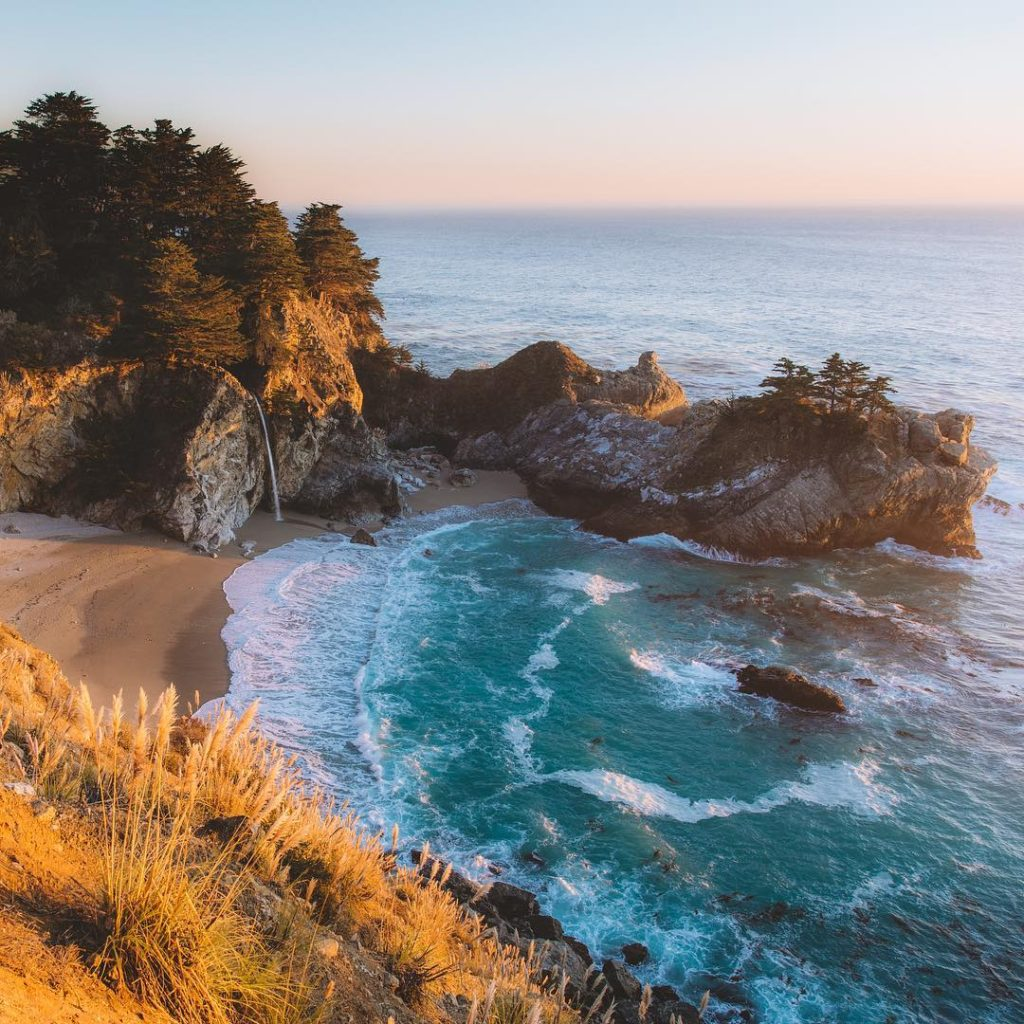 Beautiful Big Sur California waves and scenery