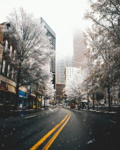 Atlanta Georgia city frosted in snow