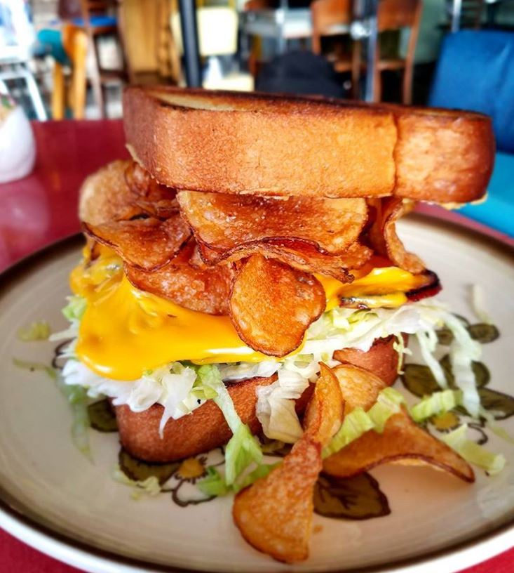 A delicious new take on the classic grilled cheese sandwhich with chips