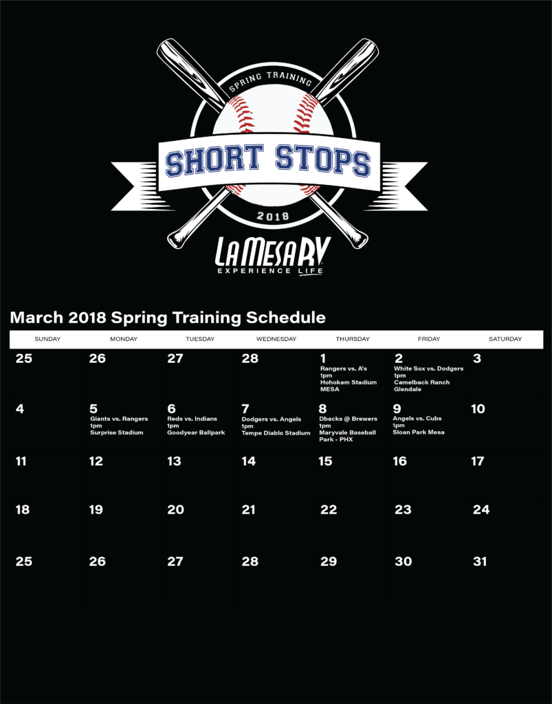La Mesa RV Short Stops March Schedule