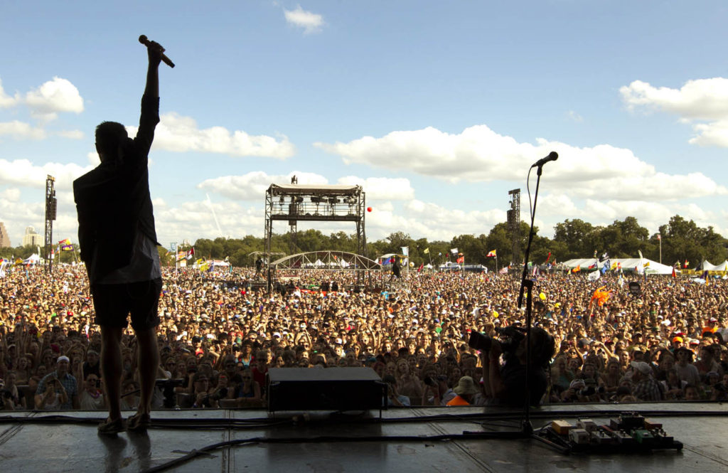 Performing in front of a crowd