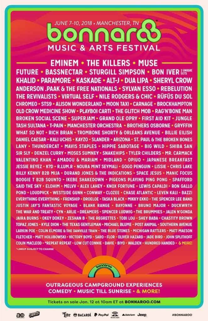 Bonnaroo Music Festival Manchester Tennessee  Events