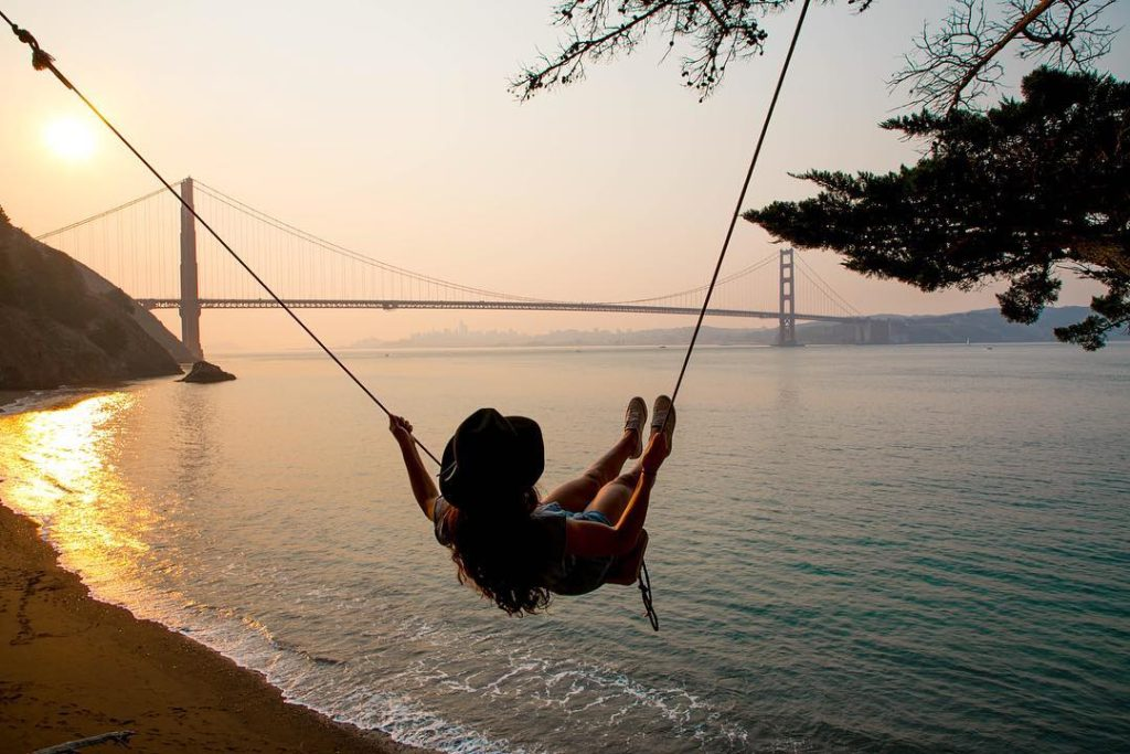 Swing over the ocean water