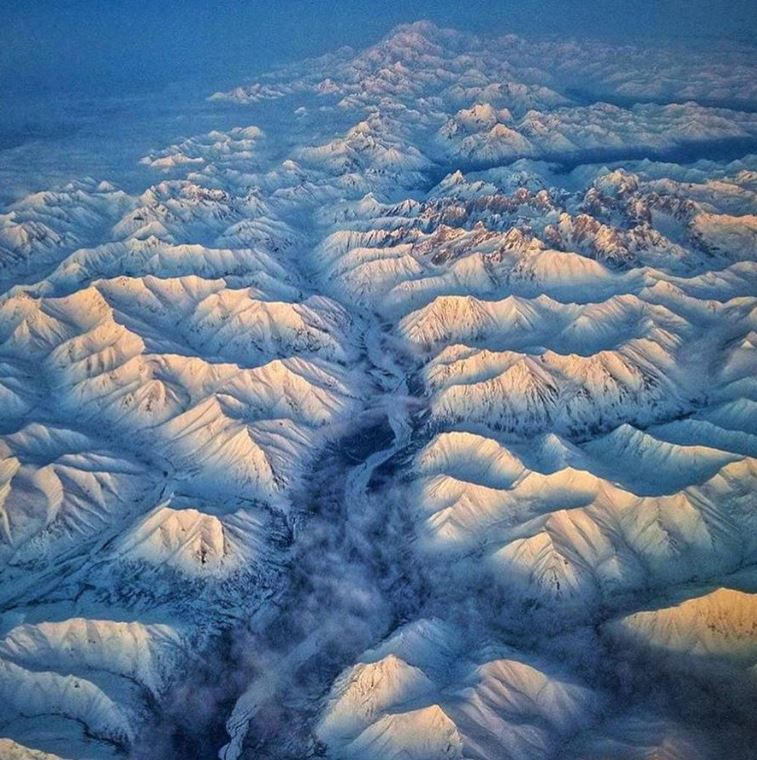 Snowy mountain peaks in Alaska