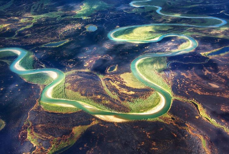 green river winding through Alaska