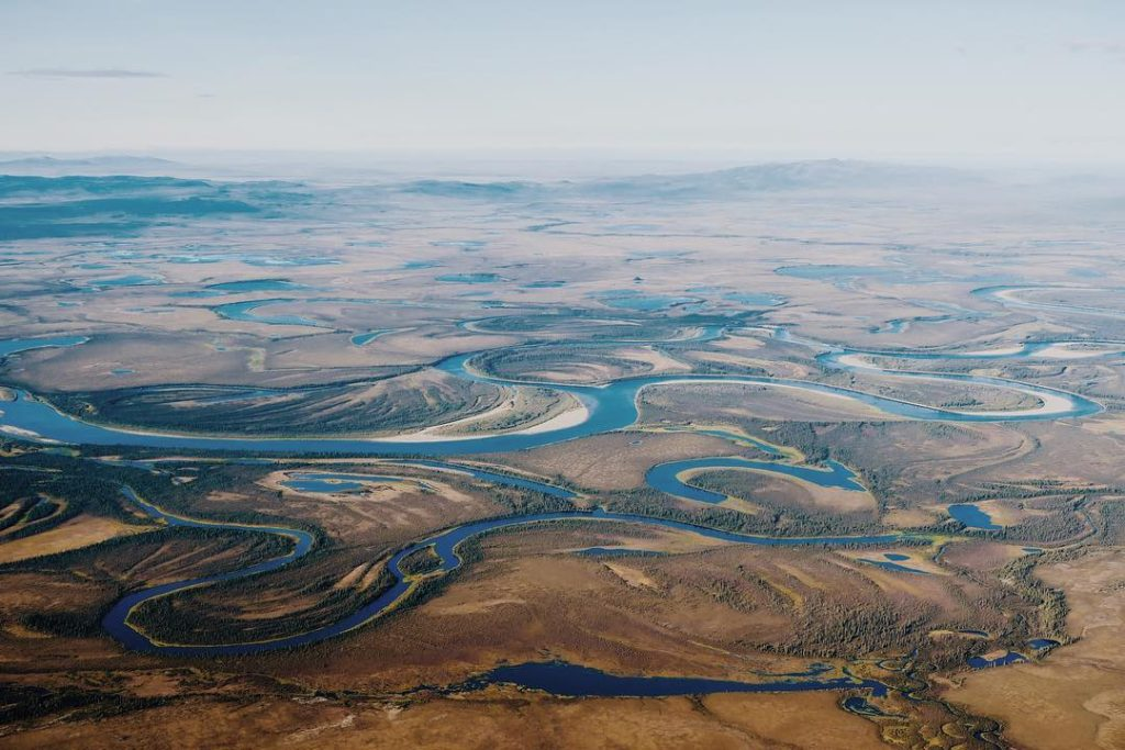 Winding river through Kobuk Valley Alaska
