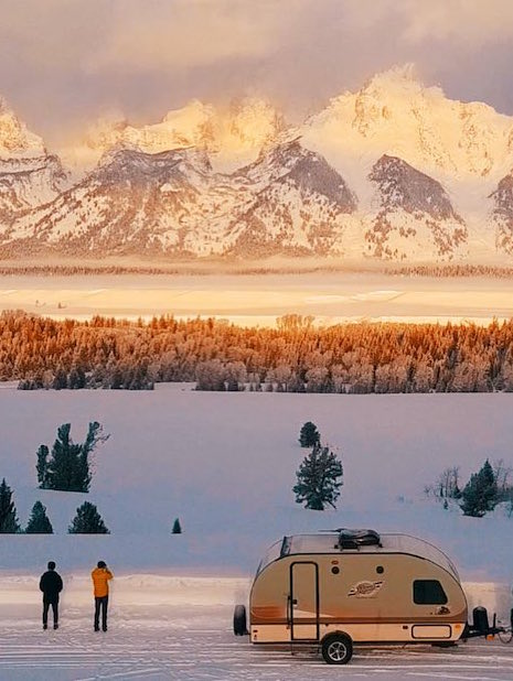 Camping in snowy mountains