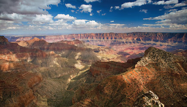 View of Grand Canyon under blue sky