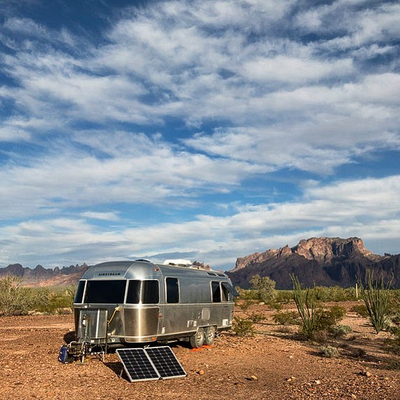 Airstream trailer in the desert