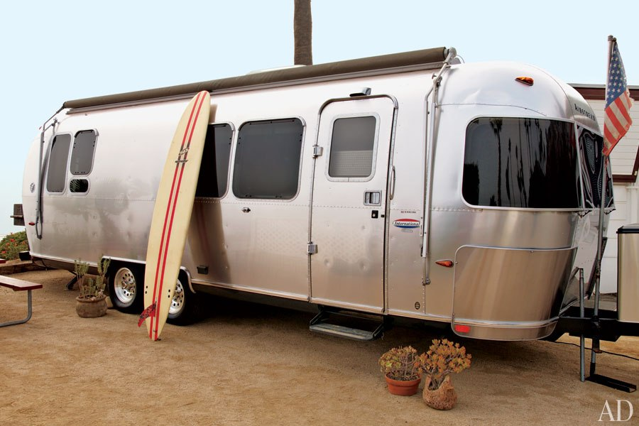 Airstream travel trailer at the beach