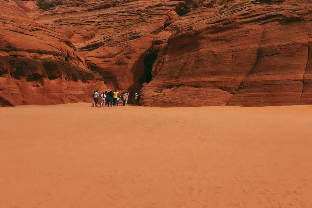 Tour group into antelope canyon