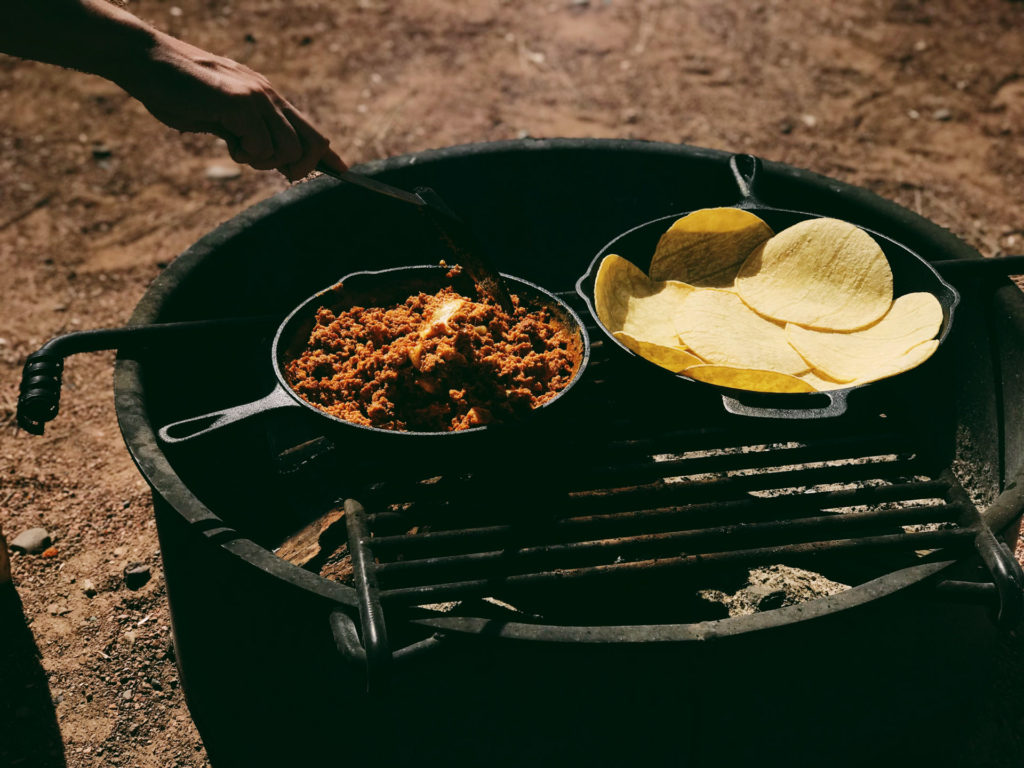 Cooking food without fire while camping