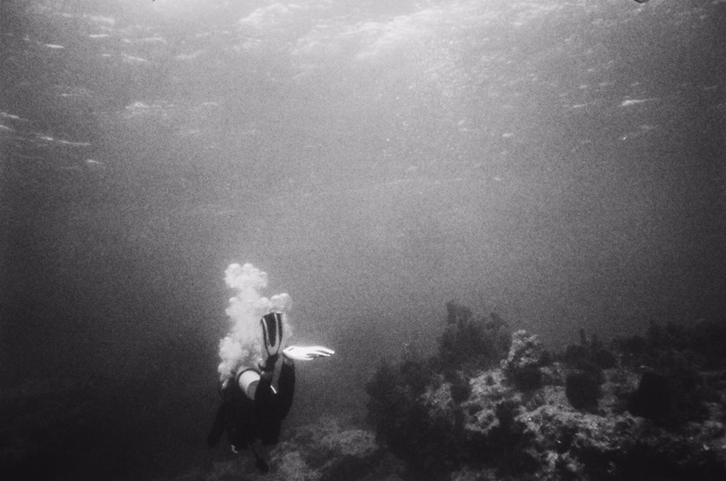 Scuba Diver black and white