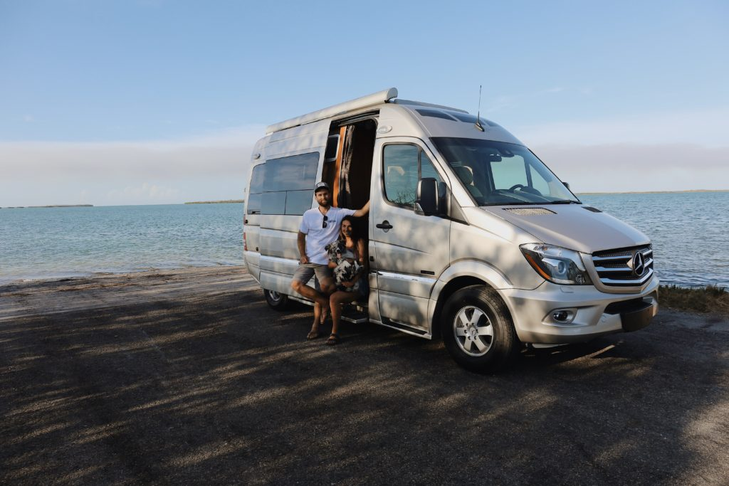 Roadtrek class B RV near the water