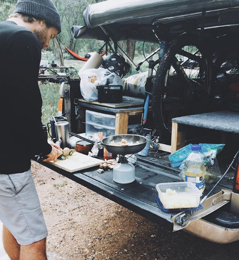 Cooking on the back of a pickup bed
