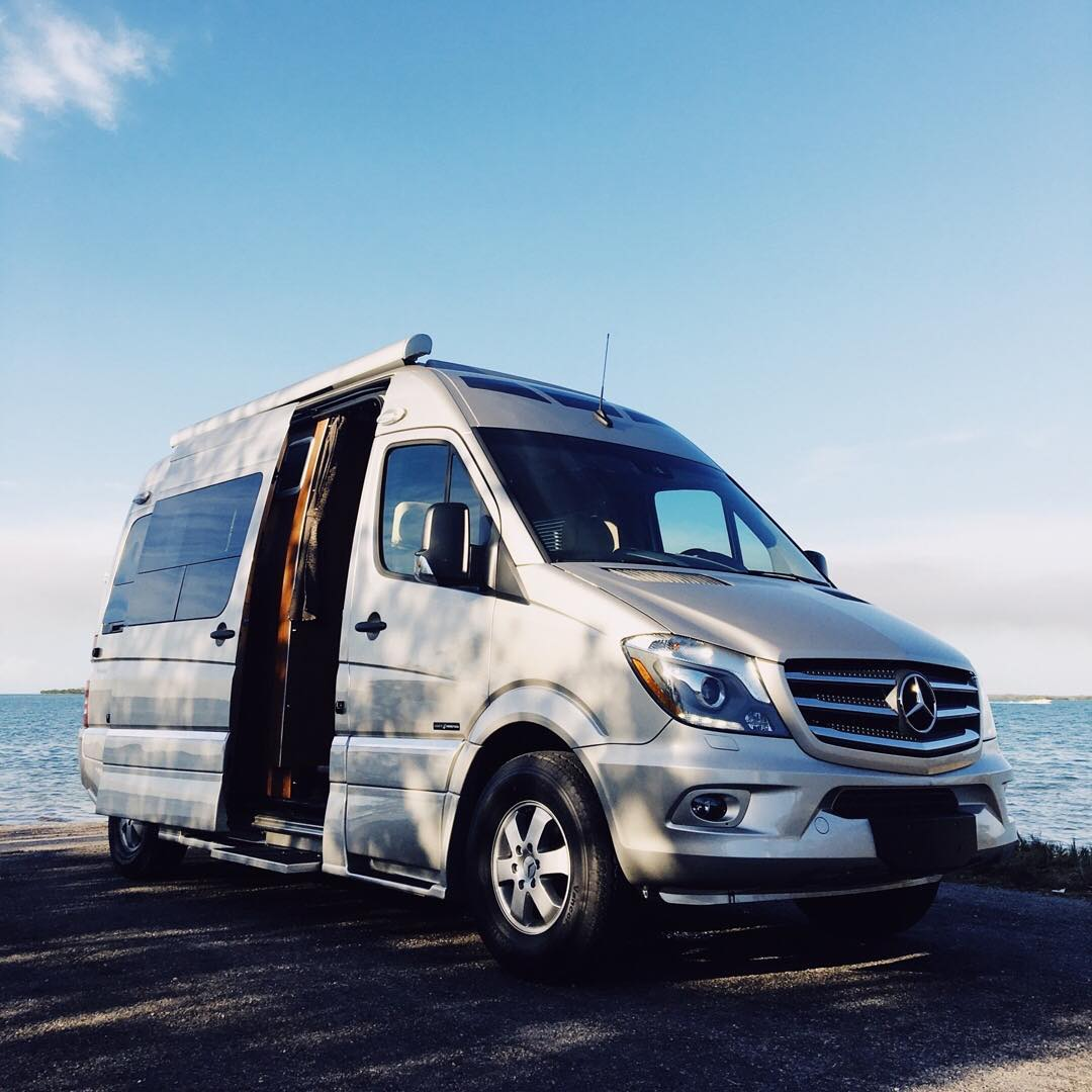 Roadtrek SS Agile in Southern Florida with blue skys and beautiful winter days