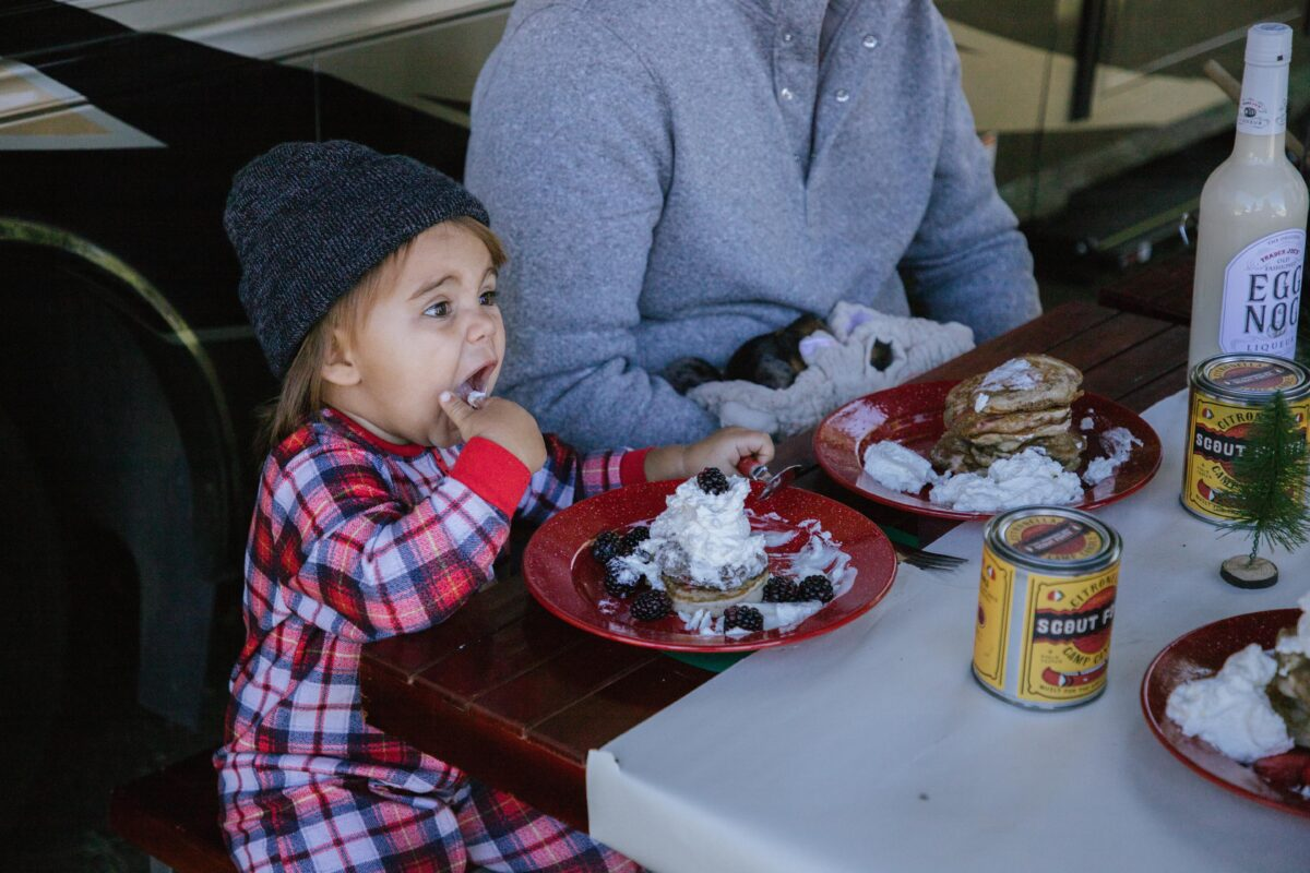 Kids favorite breakfast! Campfire pancakes on Christmas day