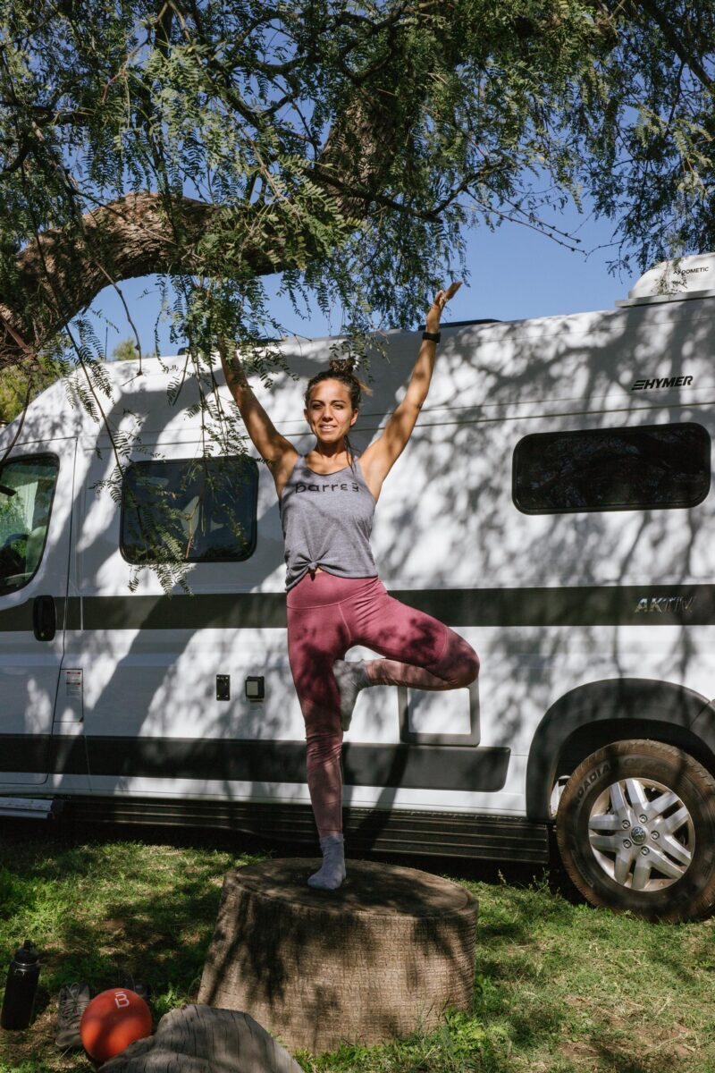 how to workout on the road. Tree pose