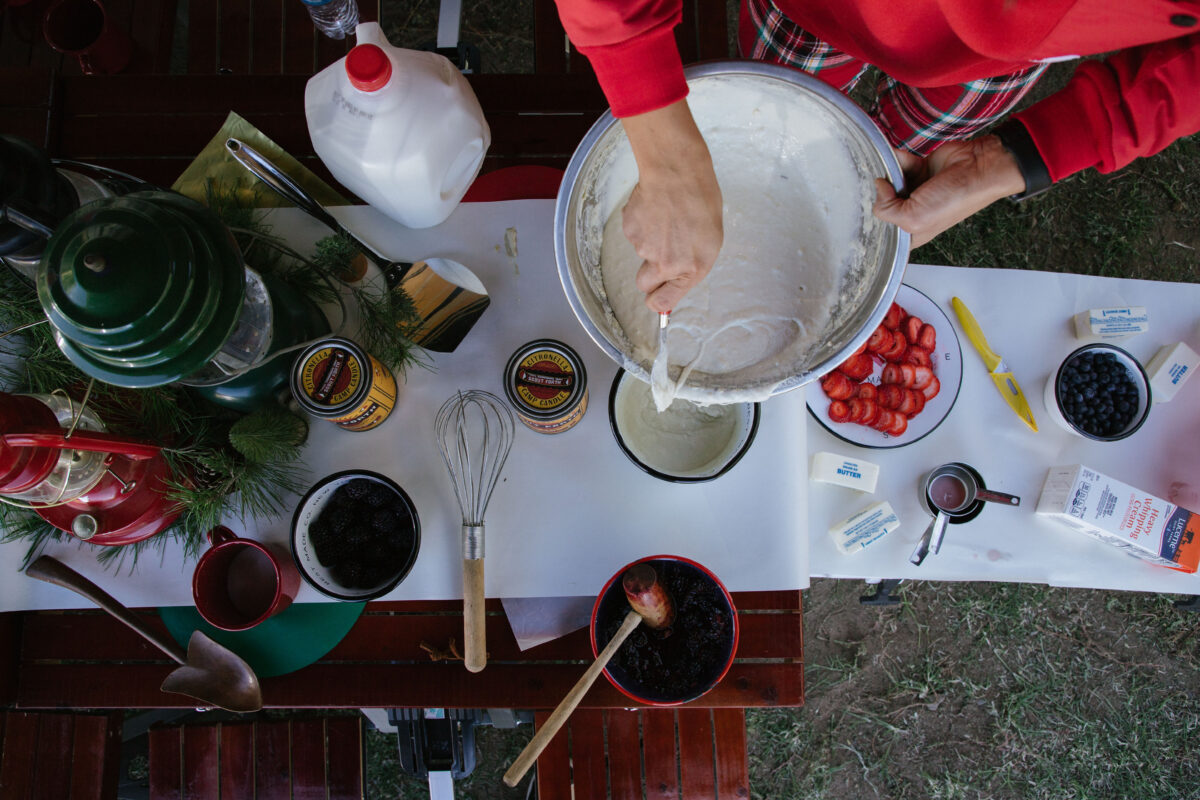 christmas day campground pancake recipe with berries and whipped cream