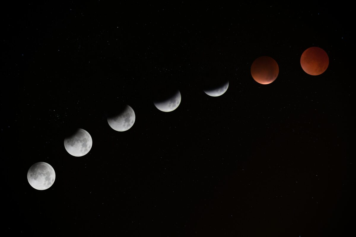 Time Lapse View of Super Blood Wolf Moon