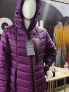 heated down jacket that comes in different sizes and colors