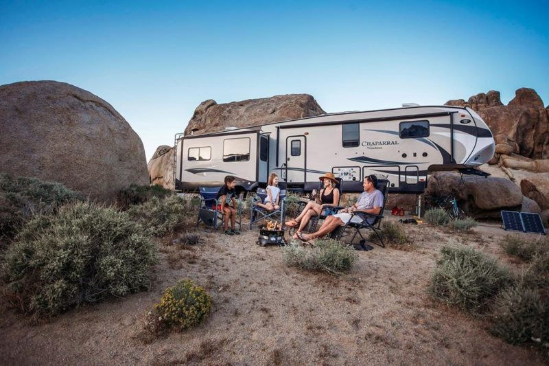 family traveling the US by RV