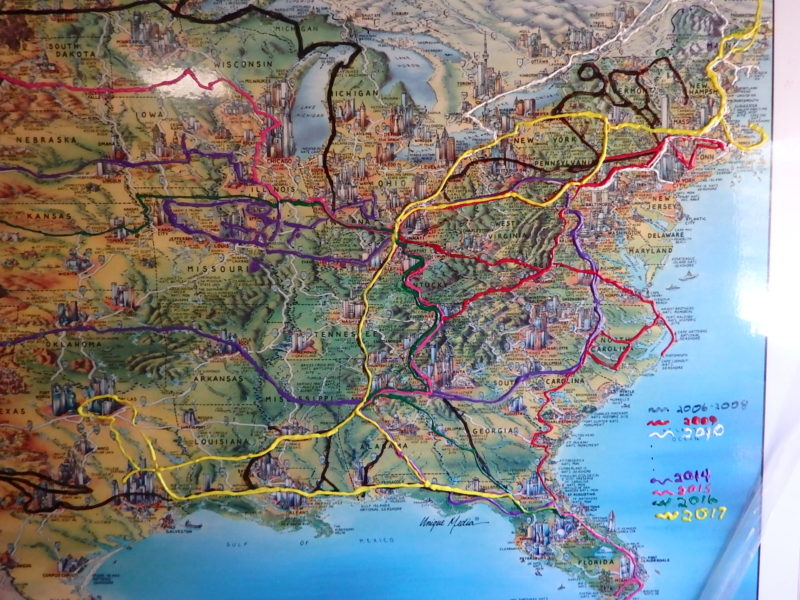 map of RVer's route over 13 years