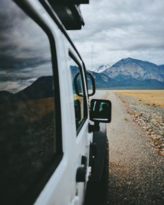 Canada RV travel, long road, mountains, stunning landscape