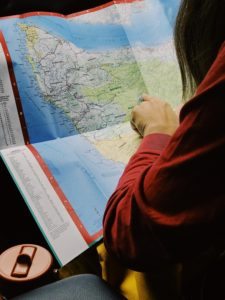 RV maps, travel map, hiking in rainforest